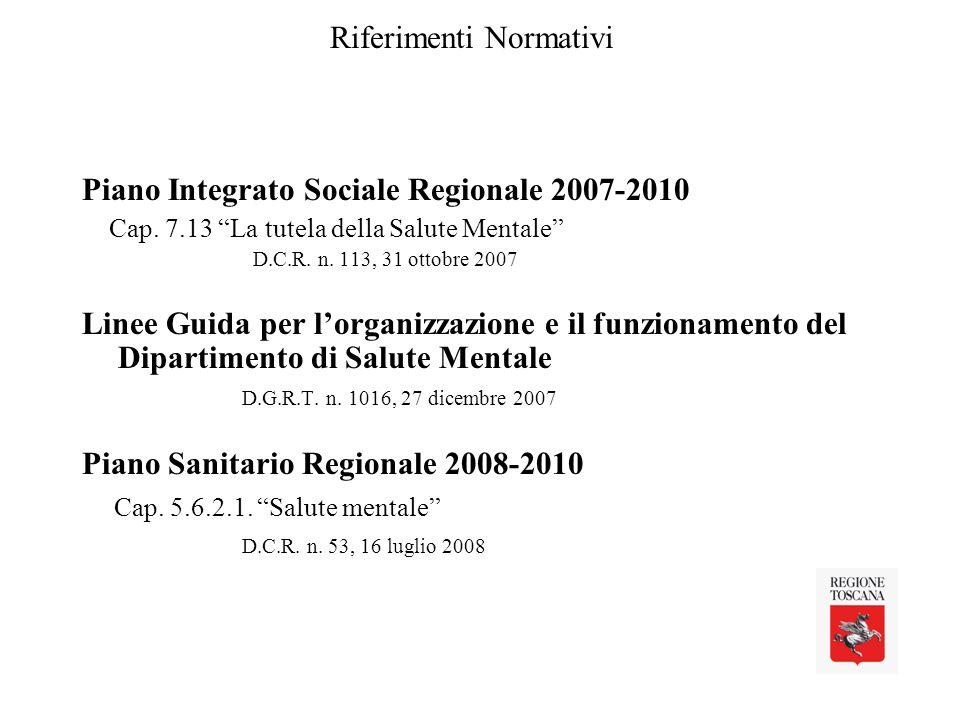 Riferimenti Normativi Piano Integrato Sociale Regionale 2007-2010 Cap.