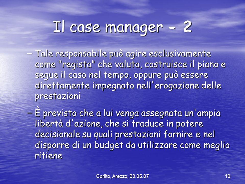Corlito, Arezzo, 23.05.0710 Il case manager - 2 – Tale responsabile può agire esclusivamente come