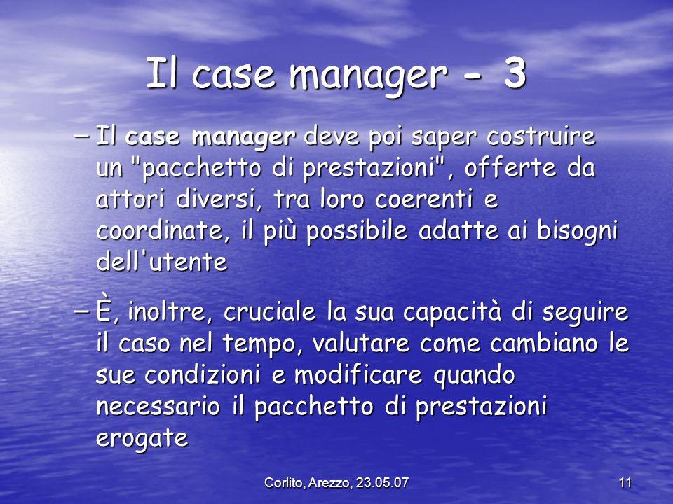 Corlito, Arezzo, 23.05.0711 Il case manager - 3 – Il case manager deve poi saper costruire un