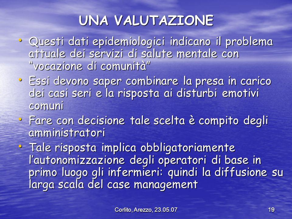 Corlito, Arezzo, 23.05.0719 UNA VALUTAZIONE Questi dati epidemiologici indicano il problema attuale dei servizi di salute mentale con vocazione di com