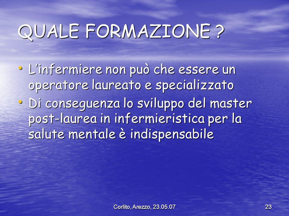 Corlito, Arezzo, 23.05.0723 QUALE FORMAZIONE ? Linfermiere non può che essere un operatore laureato e specializzato Linfermiere non può che essere un