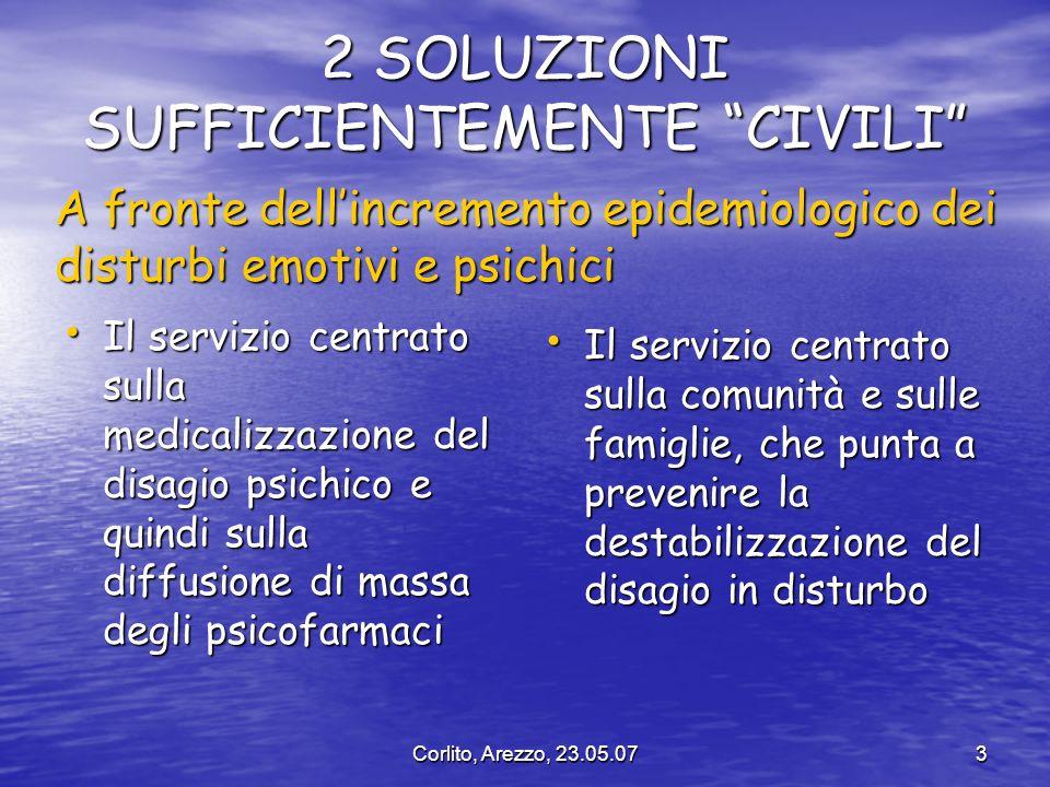 Corlito, Arezzo, 23.05.073 2 SOLUZIONI SUFFICIENTEMENTE CIVILI Il servizio centrato sulla medicalizzazione del disagio psichico e quindi sulla diffusi