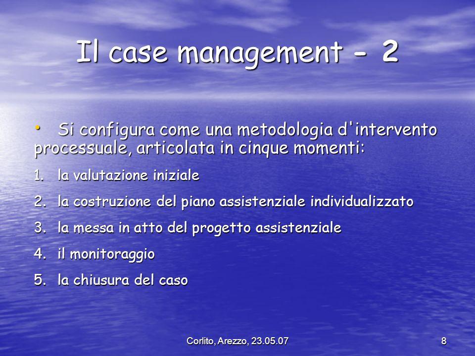 Corlito, Arezzo, 23.05.078 Il case management - 2 Si configura come una metodologia d'intervento Si configura come una metodologia d'intervento proces