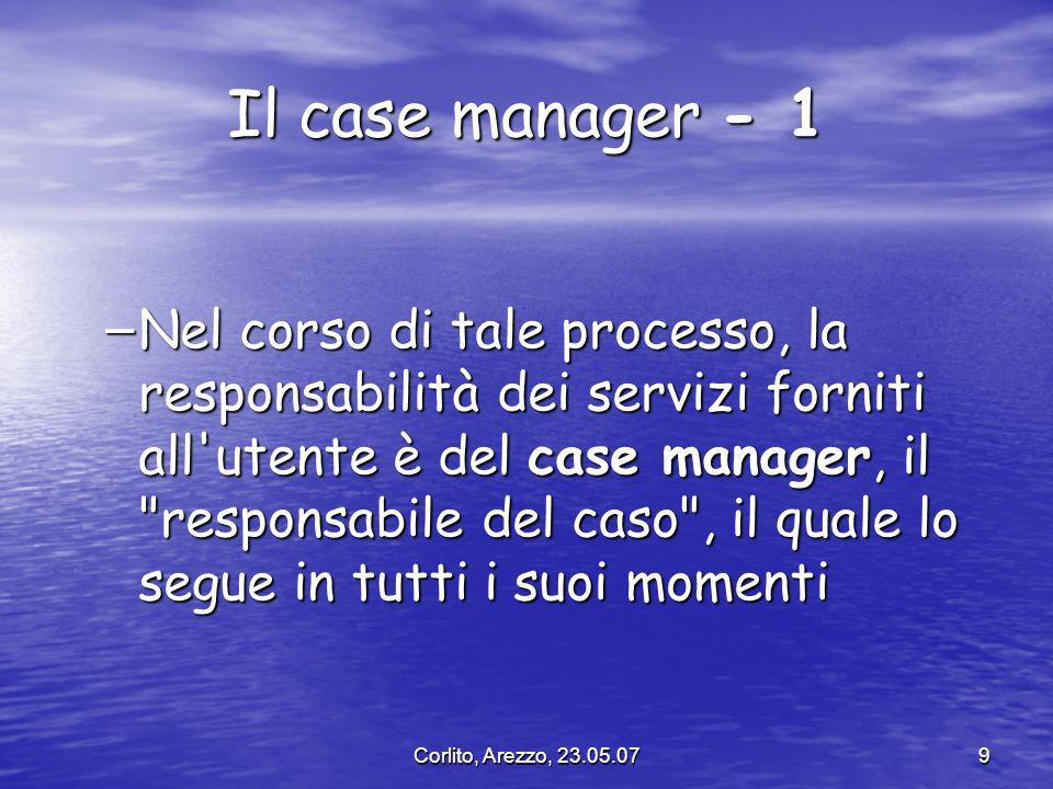 Corlito, Arezzo, 23.05.079 Il case manager - 1 – Nel corso di tale processo, la responsabilità dei servizi forniti all'utente è del case manager, il