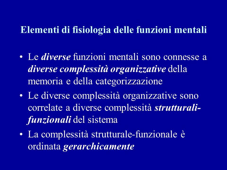 Elementi di fisiologia delle funzioni mentali Le diverse funzioni mentali sono connesse a diverse complessità organizzative della memoria e della cate