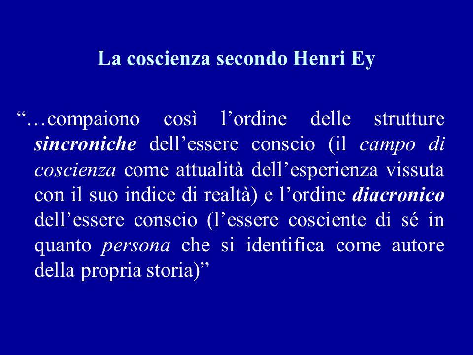 La coscienza secondo Henri Ey …compaiono così lordine delle strutture sincroniche dellessere conscio (il campo di coscienza come attualità dellesperie