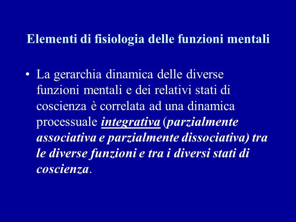 Elementi di fisiologia delle funzioni mentali La gerarchia dinamica delle diverse funzioni mentali e dei relativi stati di coscienza è correlata ad un