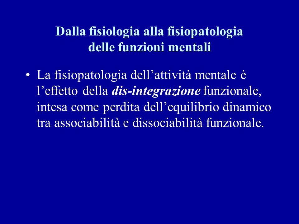 Dalla fisiologia alla fisiopatologia delle funzioni mentali La fisiopatologia dellattività mentale è leffetto della dis-integrazione funzionale, intes