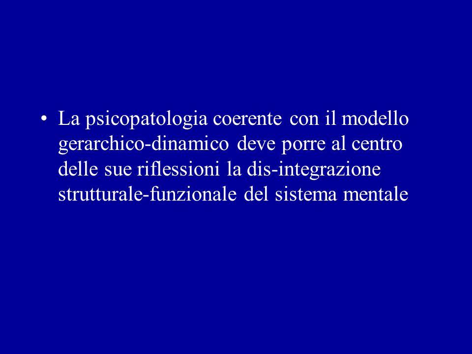 La psicopatologia coerente con il modello gerarchico-dinamico deve porre al centro delle sue riflessioni la dis-integrazione strutturale-funzionale de