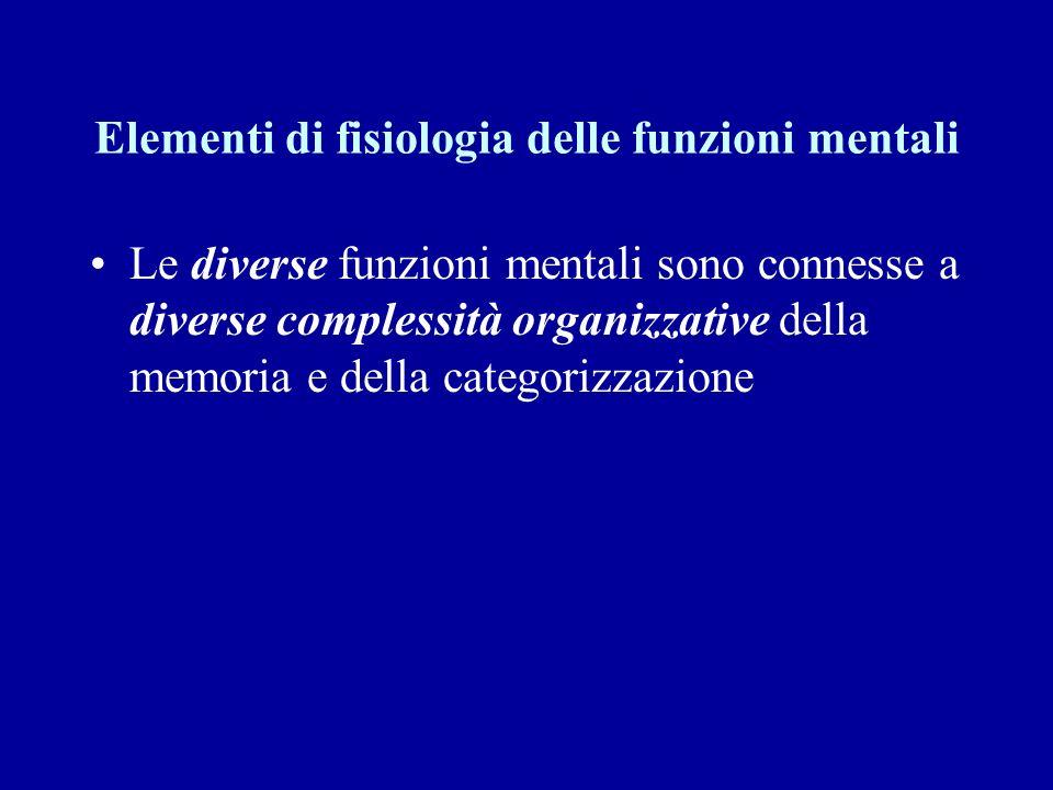 Elementi di fisiologia delle funzioni mentali La gerarchia strutturale-funzionale si costruisce durante lo sviluppo individuale
