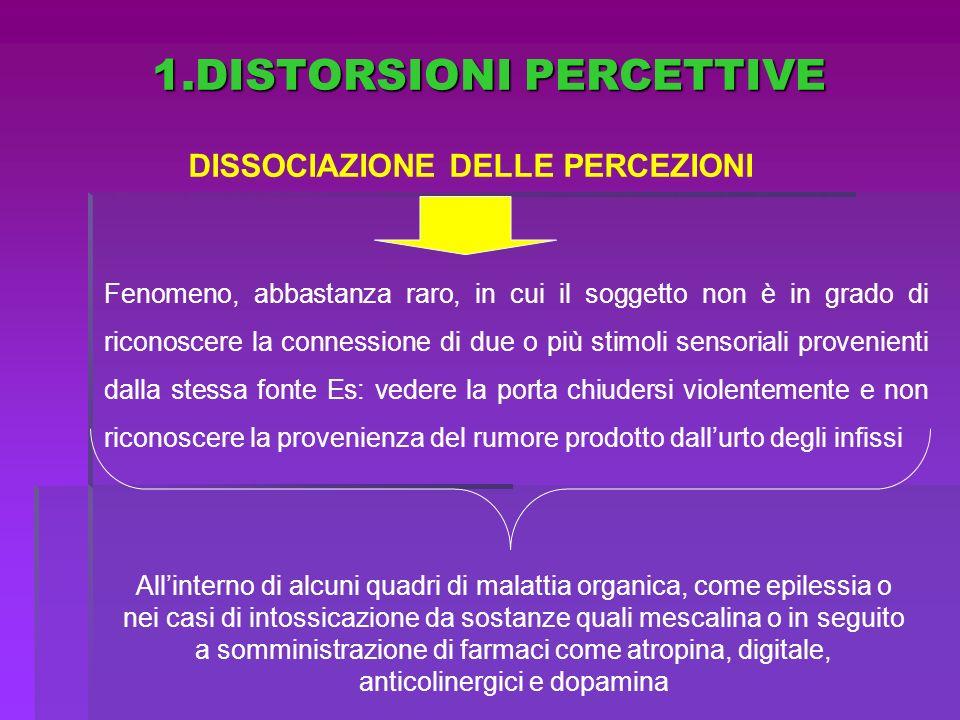 DISSOCIAZIONE DELLE PERCEZIONI Fenomeno, abbastanza raro, in cui il soggetto non è in grado di riconoscere la connessione di due o più stimoli sensori