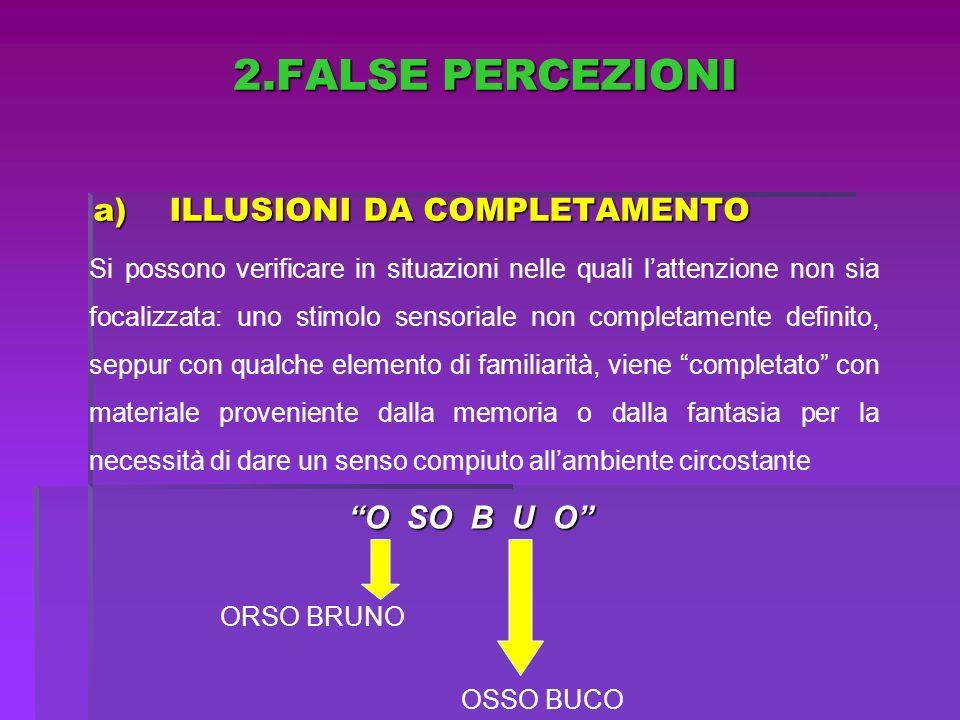 a)ILLUSIONI DA COMPLETAMENTO Si possono verificare in situazioni nelle quali lattenzione non sia focalizzata: uno stimolo sensoriale non completamente