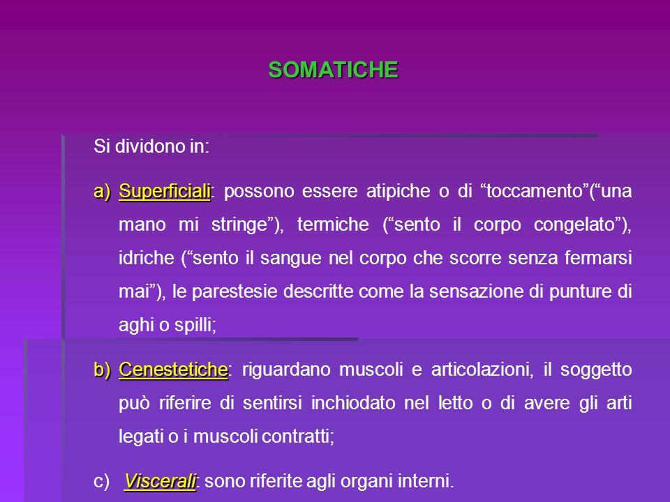 SOMATICHE Si dividono in: a)Superficiali a)Superficiali: possono essere atipiche o di toccamento(una mano mi stringe), termiche (sento il corpo congel