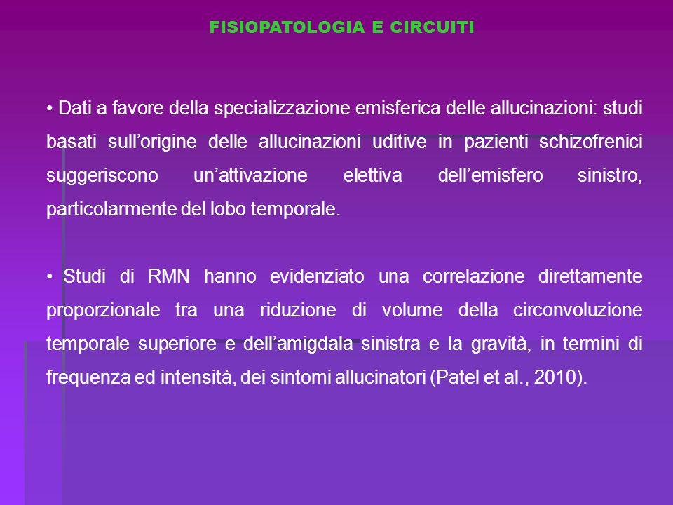 FISIOPATOLOGIA E CIRCUITI Dati a favore della specializzazione emisferica delle allucinazioni: studi basati sullorigine delle allucinazioni uditive in