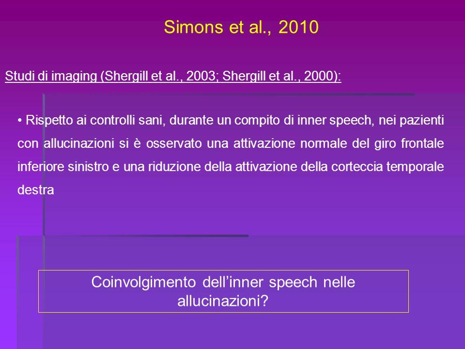 Simons et al., 2010 Studi di imaging (Shergill et al., 2003; Shergill et al., 2000): Rispetto ai controlli sani, durante un compito di inner speech, n