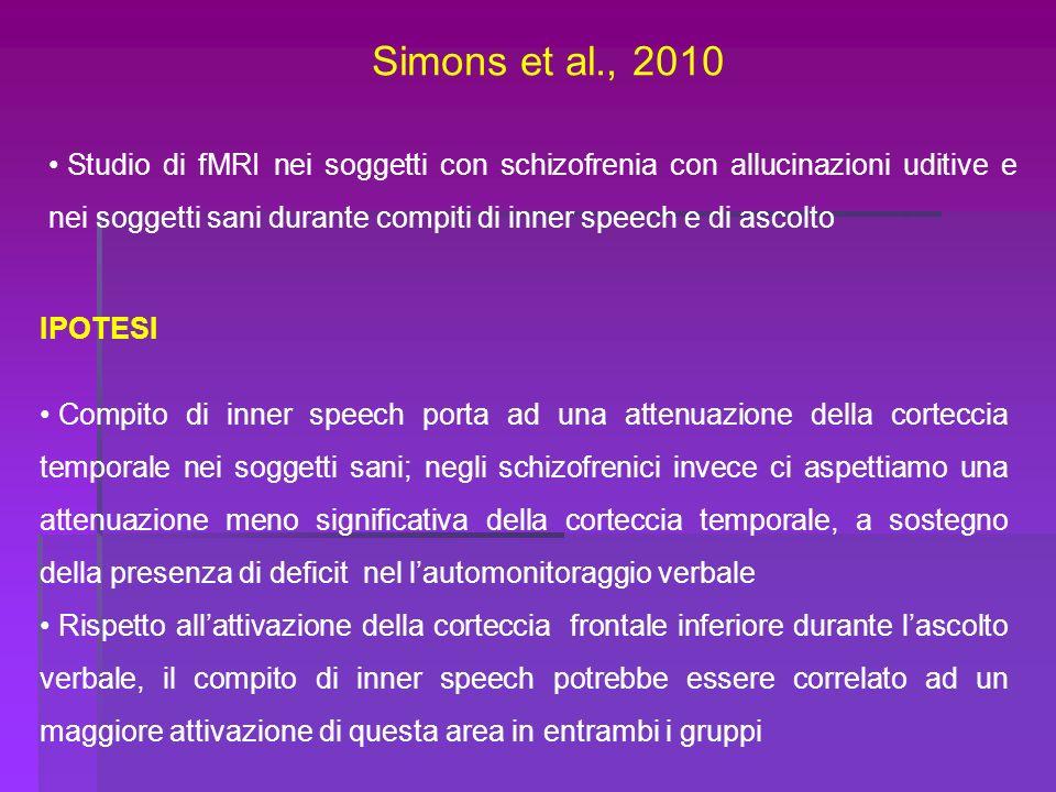 Simons et al., 2010 Studio di fMRI nei soggetti con schizofrenia con allucinazioni uditive e nei soggetti sani durante compiti di inner speech e di as