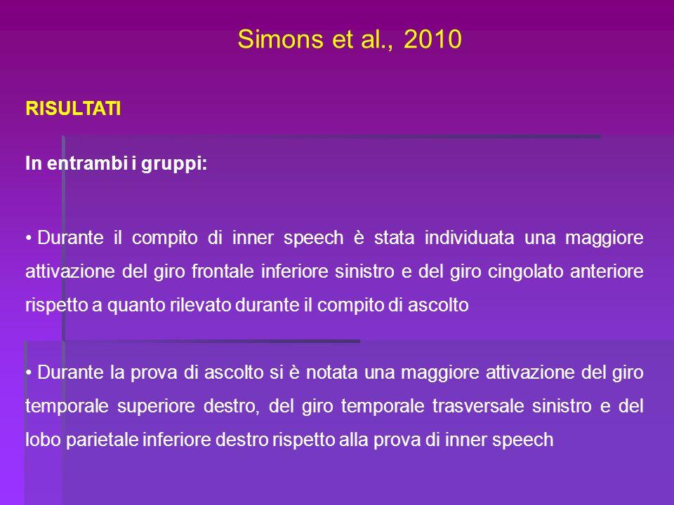 Simons et al., 2010 RISULTATI In entrambi i gruppi: Durante il compito di inner speech è stata individuata una maggiore attivazione del giro frontale