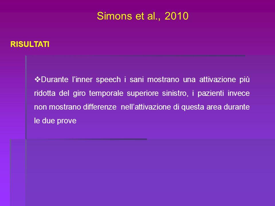 Simons et al., 2010 RISULTATI Durante linner speech i sani mostrano una attivazione più ridotta del giro temporale superiore sinistro, i pazienti inve