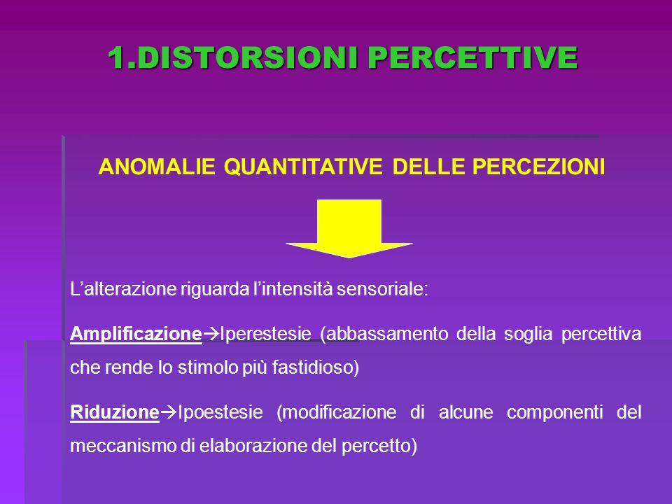 1.DISTORSIONI PERCETTIVE ANOMALIE QUANTITATIVE DELLE PERCEZIONI Lalterazione riguarda lintensità sensoriale: Amplificazione Iperestesie (abbassamento