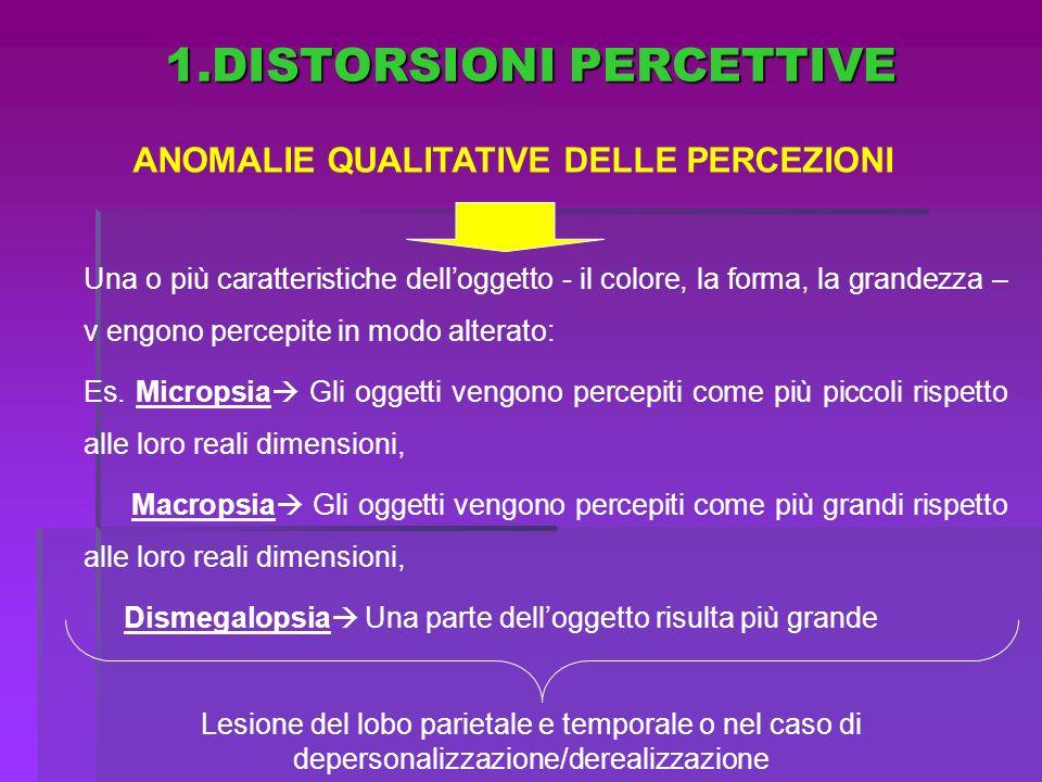 ANOMALIE QUALITATIVE DELLE PERCEZIONI Una o più caratteristiche delloggetto - il colore, la forma, la grandezza – v engono percepite in modo alterato: