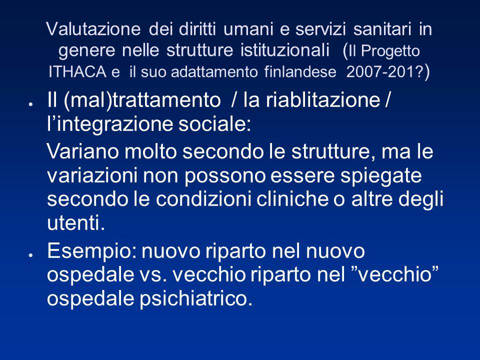 Valutazione dei diritti umani e servizi sanitari in genere nelle strutture istituzionali ( Il Progetto ITHACA e il suo adattamento finlandese 2007-201.