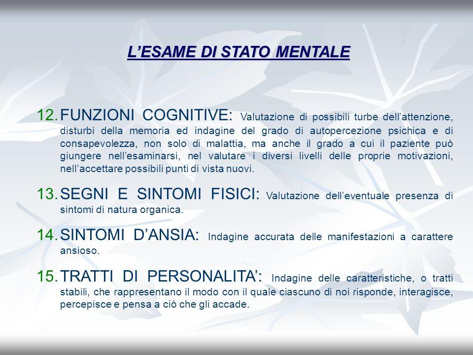 12.FUNZIONI COGNITIVE: Valutazione di possibili turbe dellattenzione, disturbi della memoria ed indagine del grado di autopercezione psichica e di con