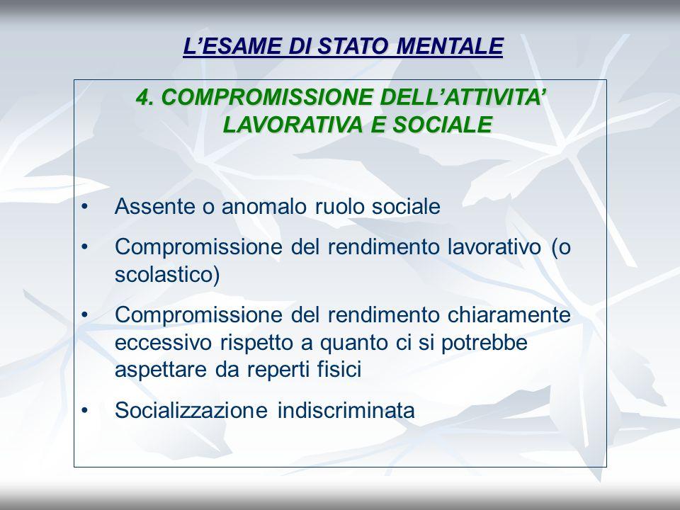 LESAME DI STATO MENTALE 4. COMPROMISSIONE DELLATTIVITA LAVORATIVA E SOCIALE Assente o anomalo ruolo sociale Compromissione del rendimento lavorativo (