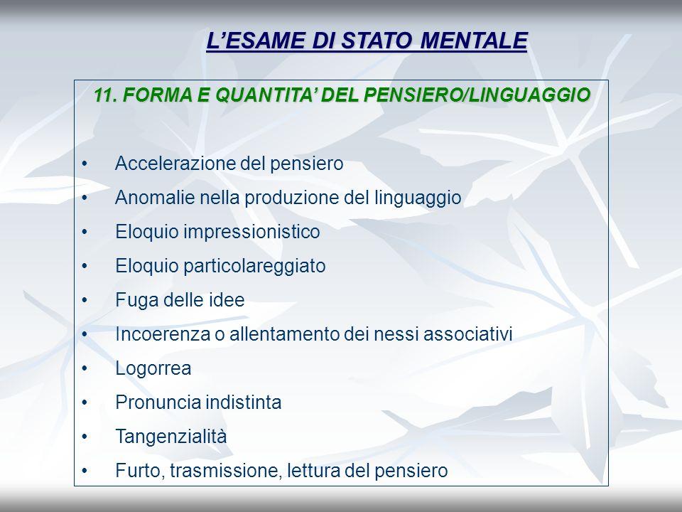 LESAME DI STATO MENTALE 11. FORMA E QUANTITA DEL PENSIERO/LINGUAGGIO Accelerazione del pensiero Anomalie nella produzione del linguaggio Eloquio impre