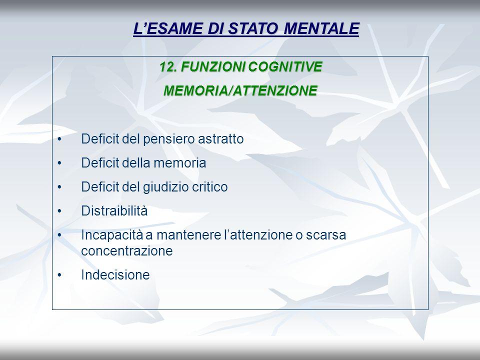 LESAME DI STATO MENTALE 12. FUNZIONI COGNITIVE MEMORIA/ATTENZIONE Deficit del pensiero astratto Deficit della memoria Deficit del giudizio critico Dis