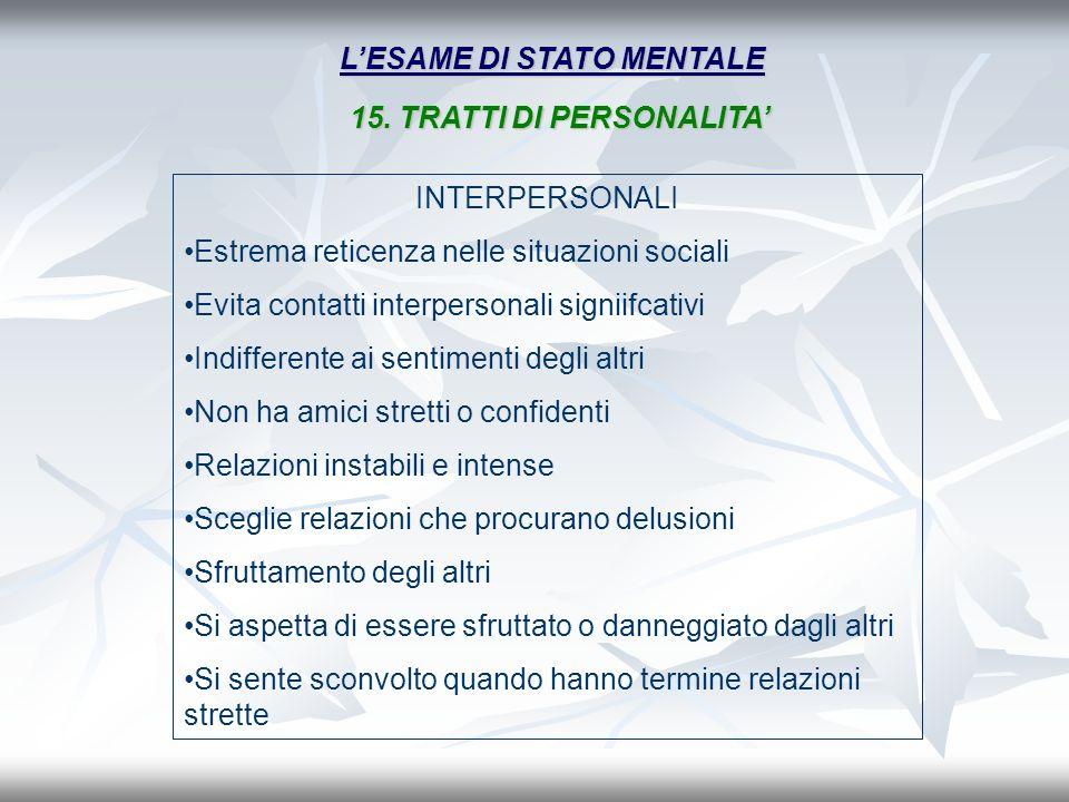 LESAME DI STATO MENTALE INTERPERSONALI Estrema reticenza nelle situazioni sociali Evita contatti interpersonali signiifcativi Indifferente ai sentimen