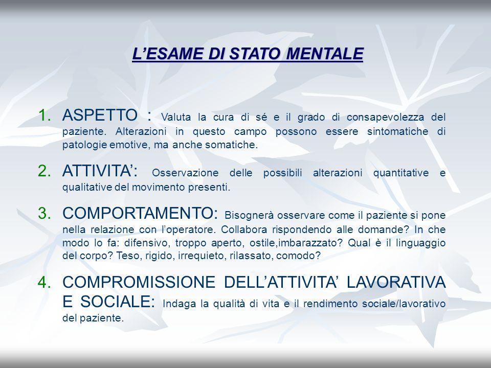 LESAME DI STATO MENTALE 1.ASPETTO : Valuta la cura di sé e il grado di consapevolezza del paziente. Alterazioni in questo campo possono essere sintoma