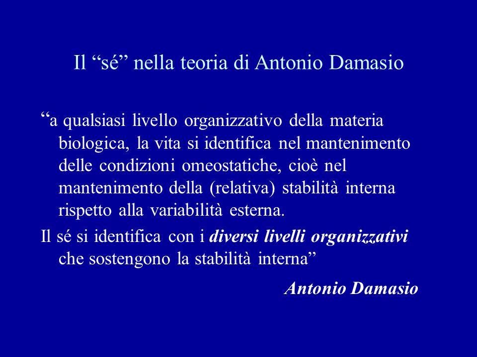 Il sé nella teoria di Antonio Damasio a qualsiasi livello organizzativo della materia biologica, la vita si identifica nel mantenimento delle condizio