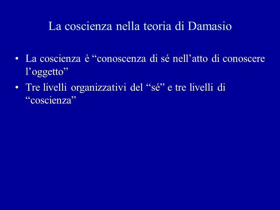 La coscienza nella teoria di Damasio La coscienza è conoscenza di sé nellatto di conoscere loggetto Tre livelli organizzativi del sé e tre livelli di