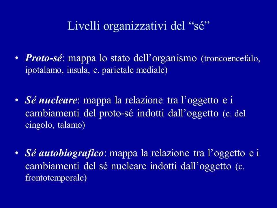 Livelli organizzativi del sé Proto-sé: mappa lo stato dellorganismo (troncoencefalo, ipotalamo, insula, c. parietale mediale) Sé nucleare: mappa la re