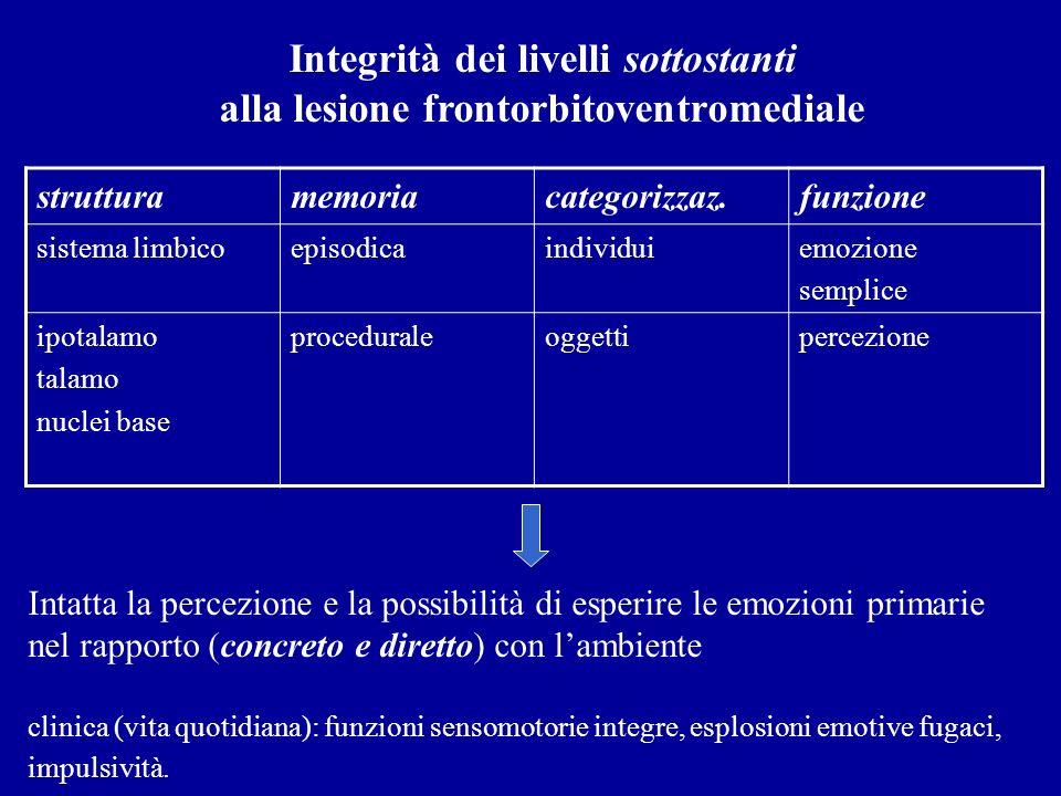 strutturamemoriacategorizzaz.funzione sistema limbicoepisodicaindividuiemozione semplice ipotalamo talamo nuclei base proceduraleoggettipercezione Int