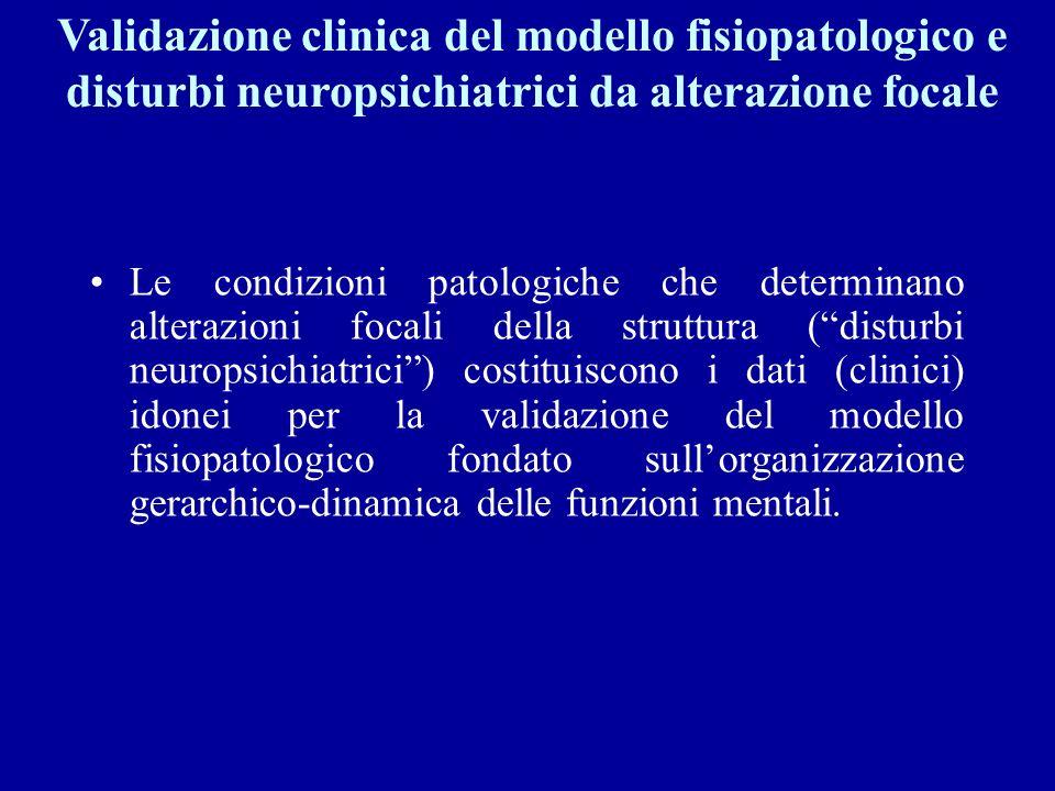 Validazione clinica del modello fisiopatologico e disturbi neuropsichiatrici da alterazione focale Le condizioni patologiche che determinano alterazio