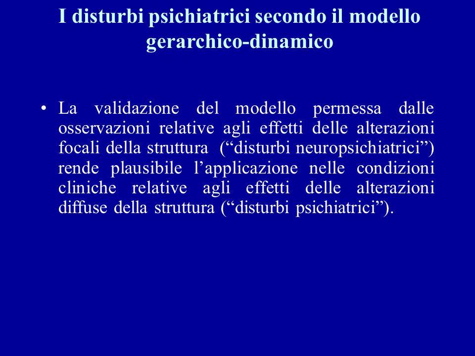 I disturbi psichiatrici secondo il modello gerarchico-dinamico La validazione del modello permessa dalle osservazioni relative agli effetti delle alte