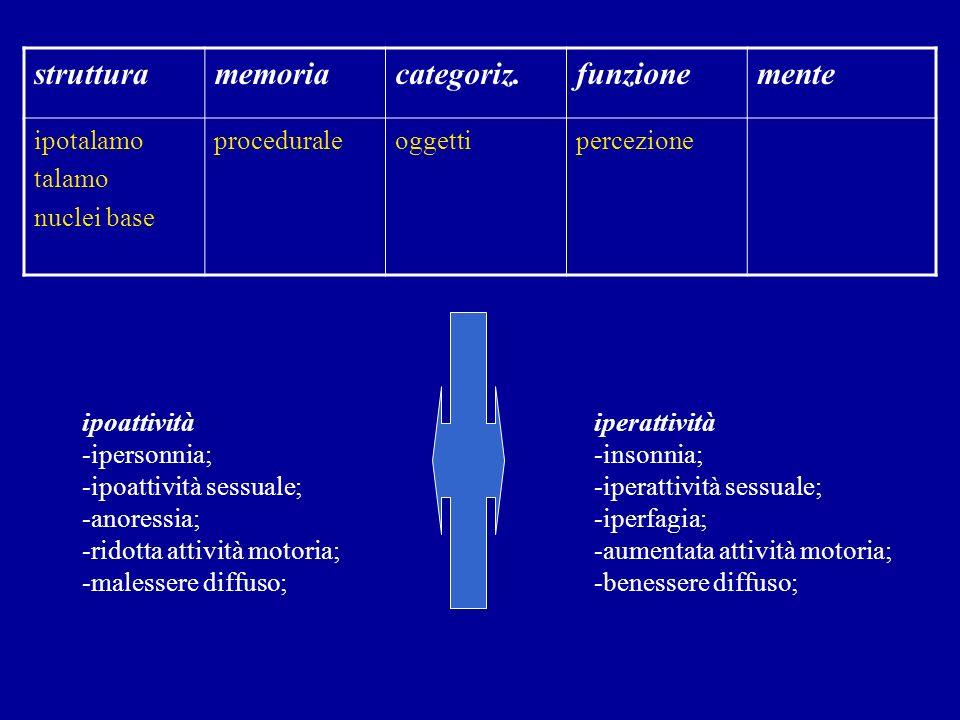 strutturamemoriacategoriz.funzionemente ipotalamo talamo nuclei base proceduraleoggettipercezione ipoattività -ipersonnia; -ipoattività sessuale; -ano