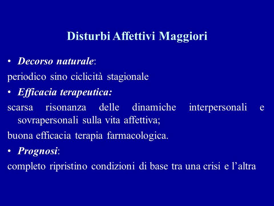 Disturbi Affettivi Maggiori Decorso naturale: periodico sino ciclicità stagionale Efficacia terapeutica: scarsa risonanza delle dinamiche interpersona