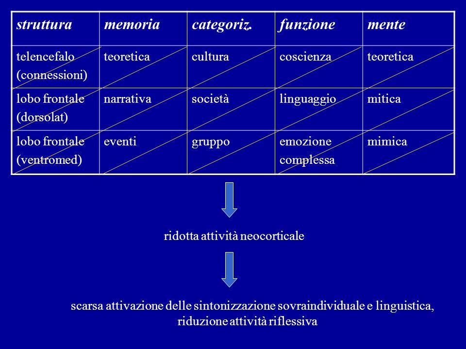 strutturamemoriacategoriz.funzionemente telencefalo (connessioni) teoreticaculturacoscienzateoretica lobo frontale (dorsolat) narrativasocietàlinguagg