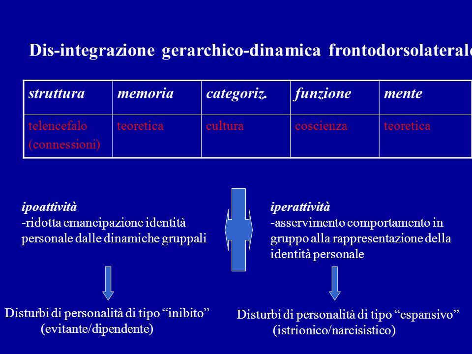 strutturamemoriacategoriz.funzionemente telencefalo (connessioni) teoreticaculturacoscienzateoretica Dis-integrazione gerarchico-dinamica frontodorsol