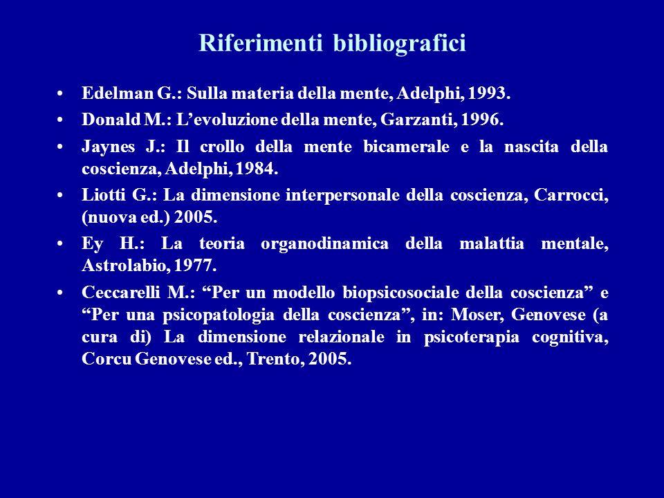 Riferimenti bibliografici Edelman G.: Sulla materia della mente, Adelphi, 1993. Donald M.: Levoluzione della mente, Garzanti, 1996. Jaynes J.: Il crol