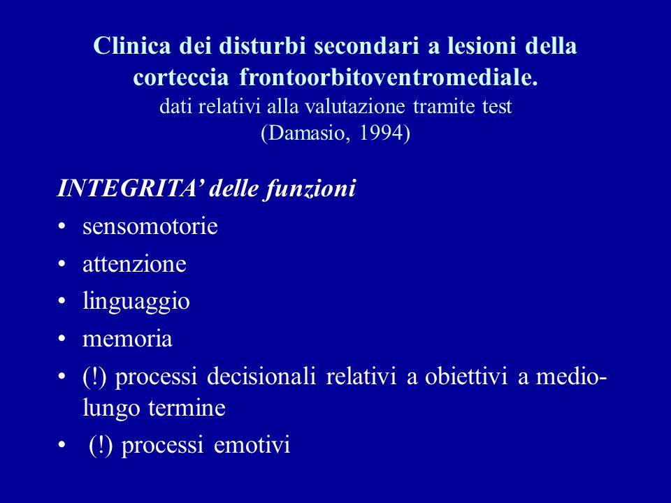 Clinica dei disturbi secondari a lesioni della corteccia frontoorbitoventromediale. dati relativi alla valutazione tramite test (Damasio, 1994) INTEGR