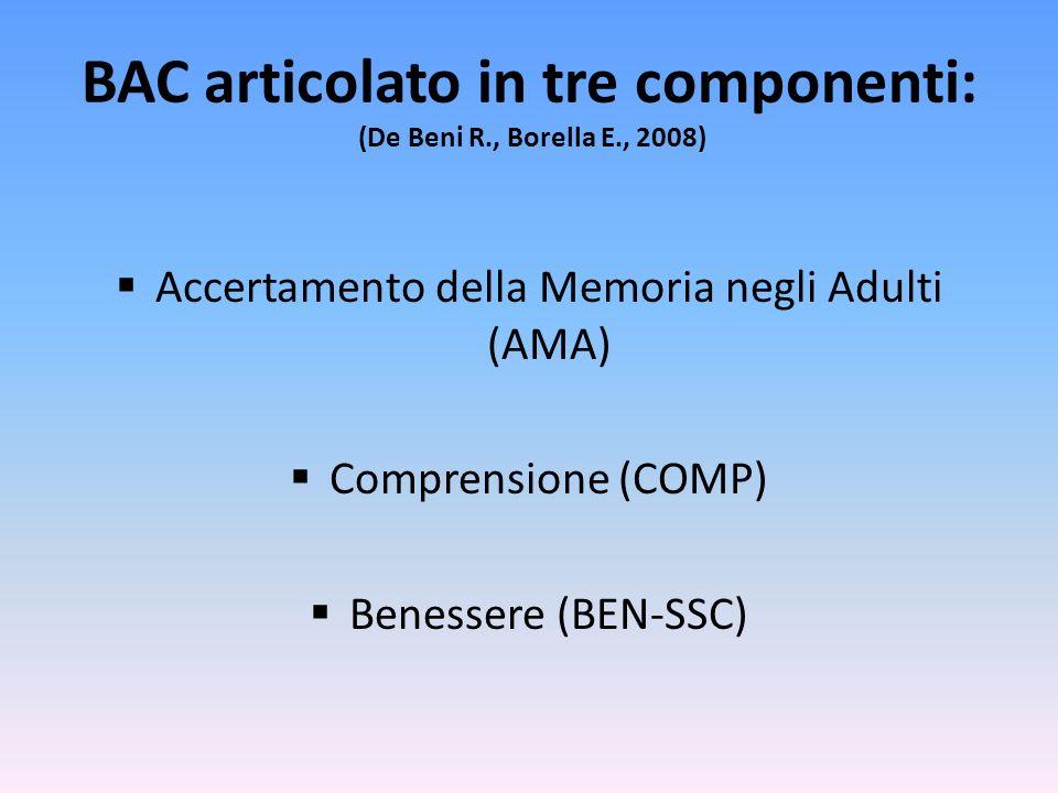 BAC articolato in tre componenti: (De Beni R., Borella E., 2008) Accertamento della Memoria negli Adulti (AMA) Comprensione (COMP) Benessere (BEN-SSC)