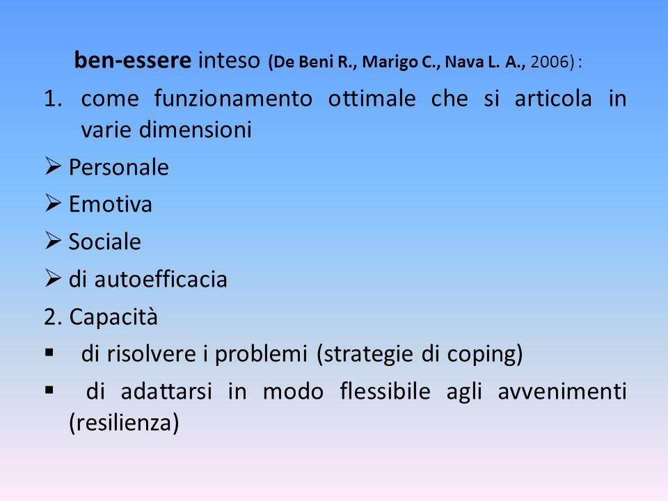ben-essere inteso (De Beni R., Marigo C., Nava L. A., 2006) : 1.come funzionamento ottimale che si articola in varie dimensioni Personale Emotiva Soci