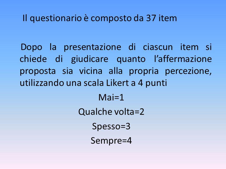 Il questionario è composto da 37 item Dopo la presentazione di ciascun item si chiede di giudicare quanto laffermazione proposta sia vicina alla propr