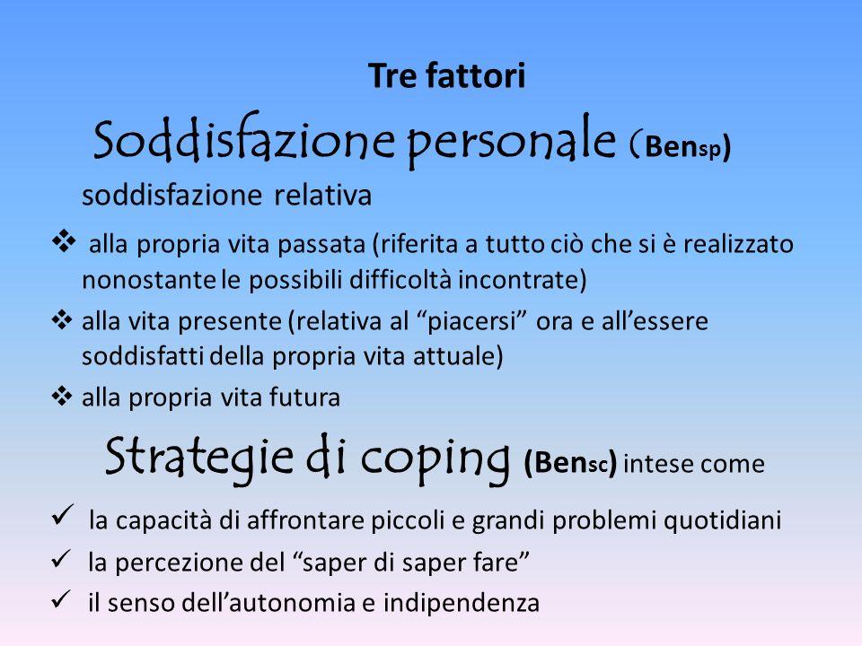 Tre fattori Soddisfazione personale ( Ben sp ) soddisfazione relativa alla propria vita passata (riferita a tutto ciò che si è realizzato nonostante l