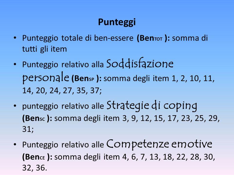 Punteggi Punteggio totale di ben-essere (Ben TOT ): somma di tutti gli item Punteggio relativo alla Soddisfazione personale (Ben SP ): somma degli ite