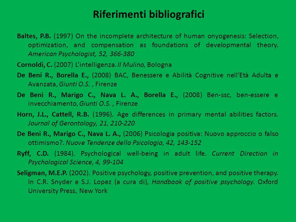 Riferimenti bibliografici Baltes, P.B.