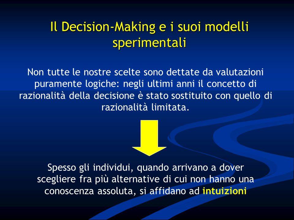 Non tutte le nostre scelte sono dettate da valutazioni puramente logiche: negli ultimi anni il concetto di razionalità della decisione è stato sostitu